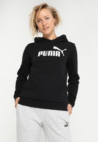 Puma - ESS LOGO HOODY  - Felpa con cappuccio - cotton black - 0
