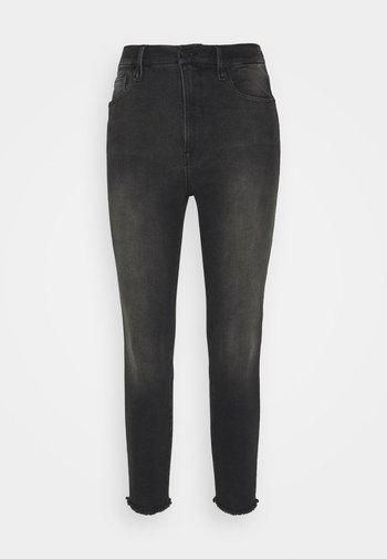 WAIST CROP FRAY HEM - Skinny džíny - black