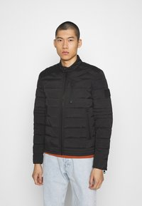 Calvin Klein Jeans - QUILTED PADDED MOTO JACKET - Light jacket - black - 0