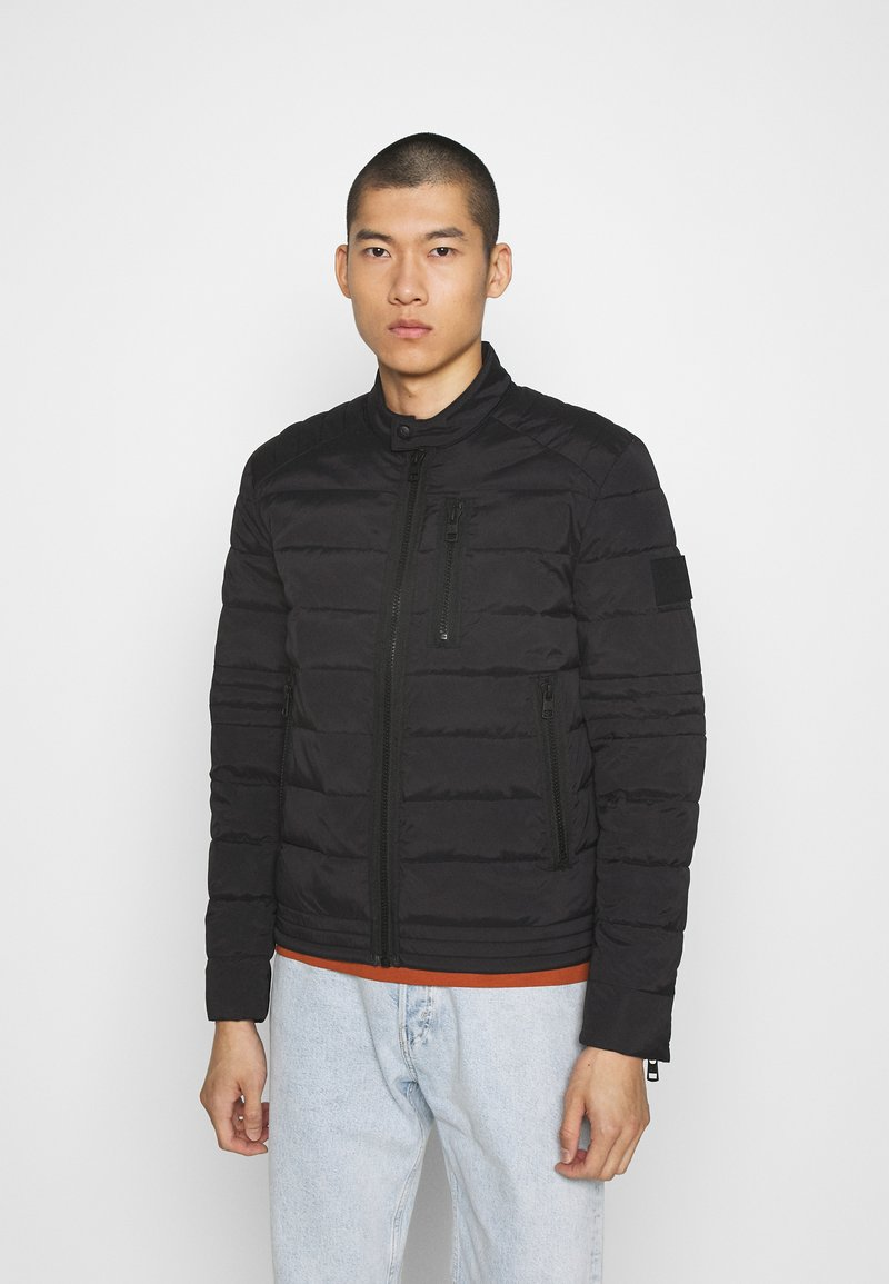 Calvin Klein Jeans - QUILTED PADDED MOTO JACKET - Light jacket - black