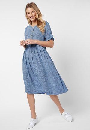 BLUE SPOT TIERED DRESS - Day dress - blue
