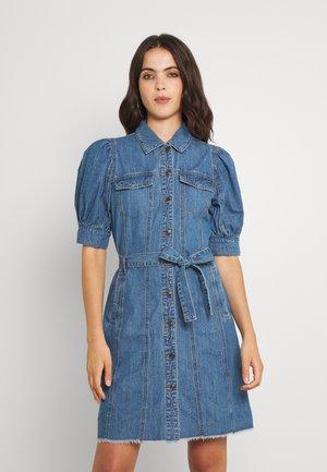 ONLGERDA BELT DRESS - Denim dress - dark blue denim