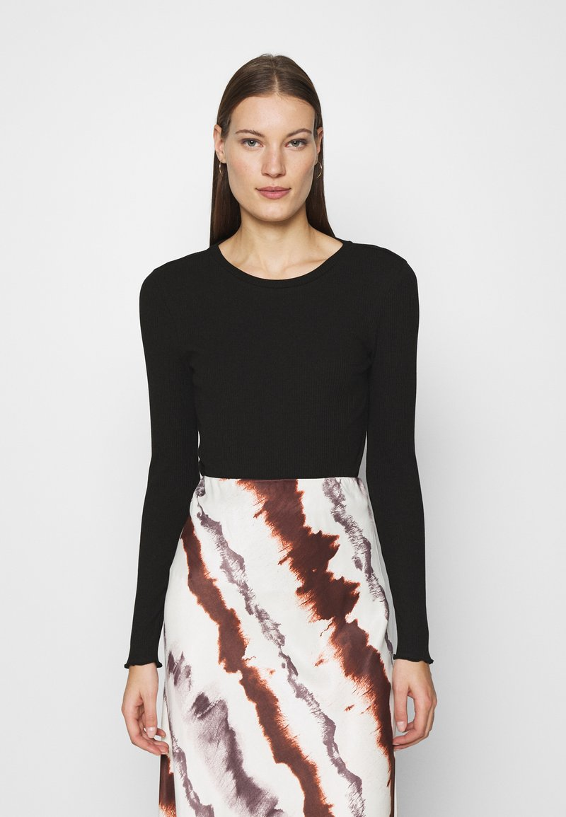 Selected Femme - SLFANNA CREW NECK TEE  - Long sleeved top - black