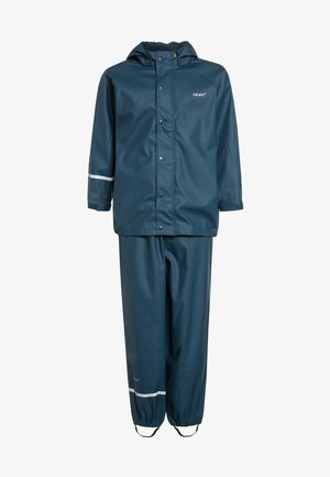 RAINWEAR SUIT BASIC SET WITH FLEECE LINING - Rain trousers - iceblue