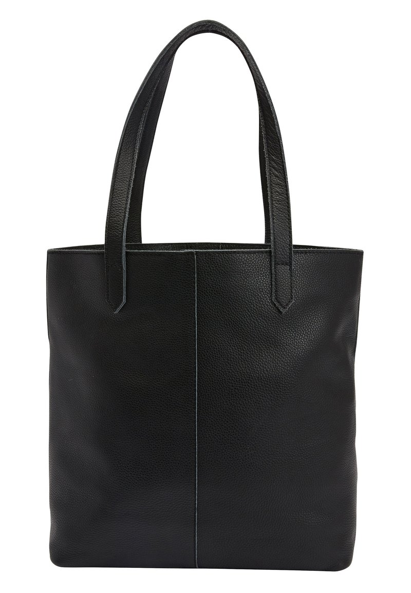Next - BLACK LEATHER FRONT POCKET SHOPPER BAG - Torba na zakupy - black