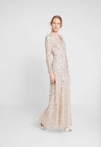 Maya Deluxe - ALL OVER HEAVILY EMBELLISHED WRAP LONG SLEEVE MAXI DRESS - Robe de cocktail - nude - 2