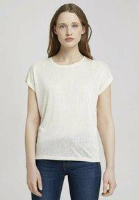 TOM TAILOR DENIM - Basic T-shirt - soft creme beige - 0