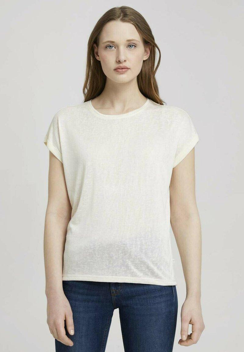 TOM TAILOR DENIM - Basic T-shirt - soft creme beige
