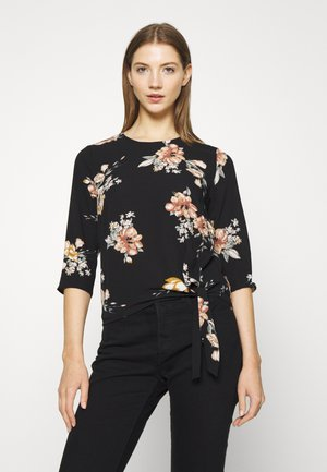 ONLNOVA LUX KNOT - Blus - black/romantic flower