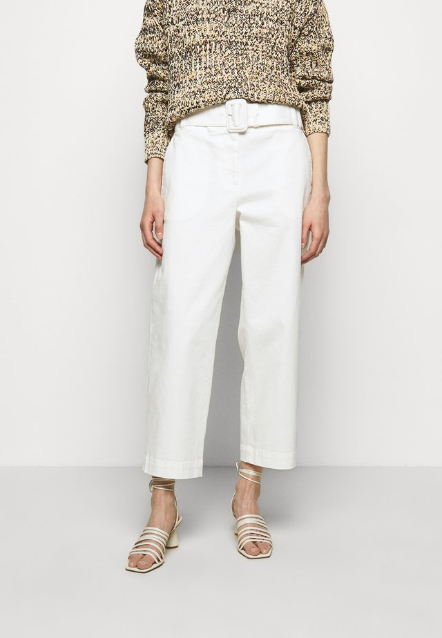 BELTED SOFT PANT - Stoffhose - off-white