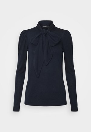 TIE NECK - Jumper - navy