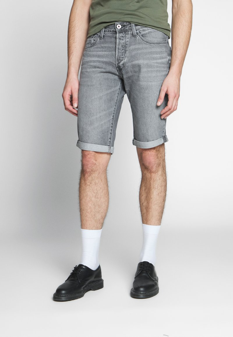 G-Star - 3301 SHORT - Denim shorts - sato black denim/sun faded black stone