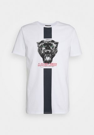 STRIPE ANIMAL TEE - Print T-shirt - white