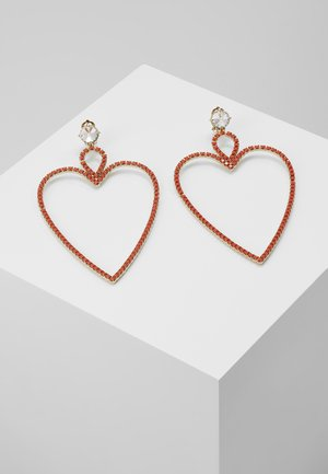 BIG HEART EARRINGS - Kolczyki - gold-couloured/coral