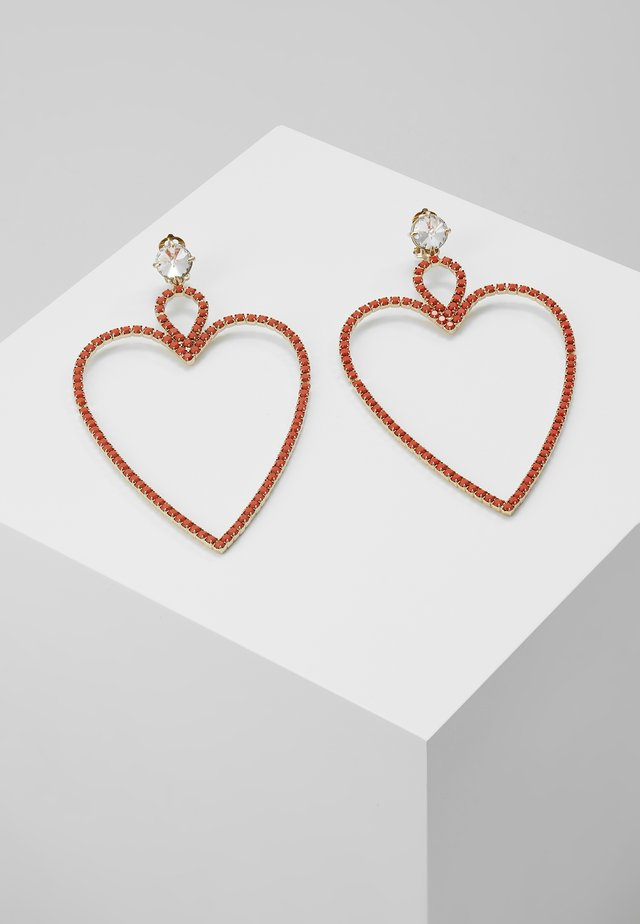 BIG HEART EARRINGS - Earrings - gold-couloured/coral