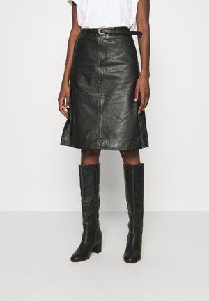 SLFKIM SKIRT - Leather skirt - black