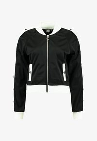 Urban Classics - LADIES BUTTON UP TRACK JACKET - Bomber Jacket - black/white - 5