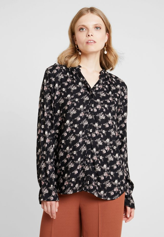 FLOWER PRINT - Button-down blouse - black combi
