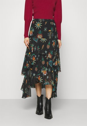 FARM FESTA TIERED MIDI SKIRT - Áčková sukně - black