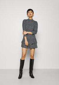 Dorothy Perkins - SHEERED NECK MINI DRESS DITSY PRINT - Day dress - black - 1