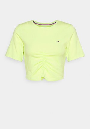 CROP RUCHE - Camiseta estampada - faded lime
