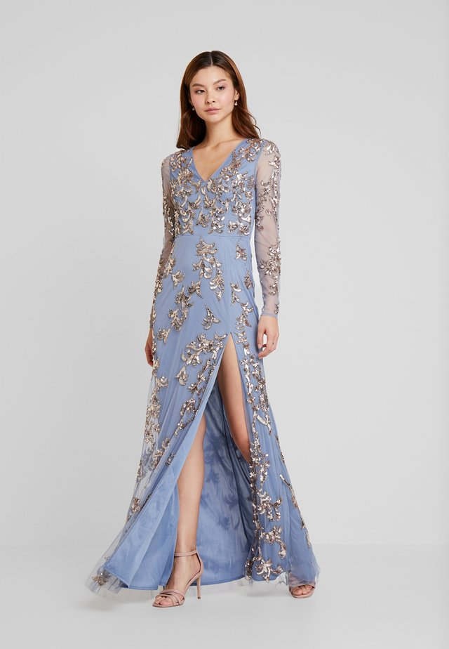 LONG SLEEVE ALL OVER EMBELLISHED DRESS - Occasion wear - blue/bronze