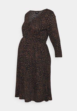 OLMPELLA 3/4 WRAP SHORT DRESS - Jersey dress - black/beige