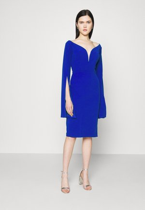 AMELIA V PLUNGE MIDI DRESS - Jerseykjole - electric blue