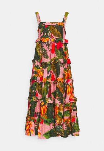 MAXI DRESS - Vestito estivo - pink/cocoa/forest