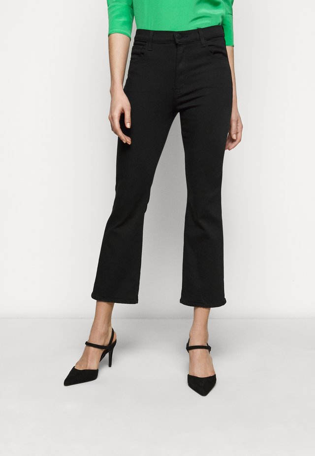 FRANKY HIGH RISE CROP - Jean bootcut - seriously black