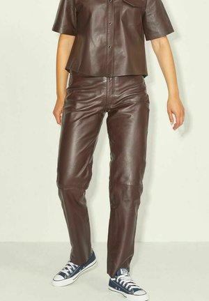 JXGRACE STRAIGHT - Leather trousers - demitasse