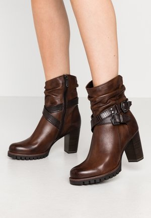 Cowboy/biker ankle boot - cafe