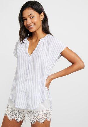 V NECK - Pyjama top - blue/white