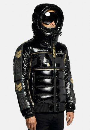Denim jacket - black/wet black/gold