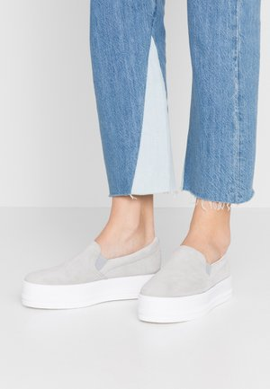 LEATHER - Slip-ons - grey