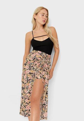 RUSTIKALER MIT BLUMENPRINT - A-line skirt - black