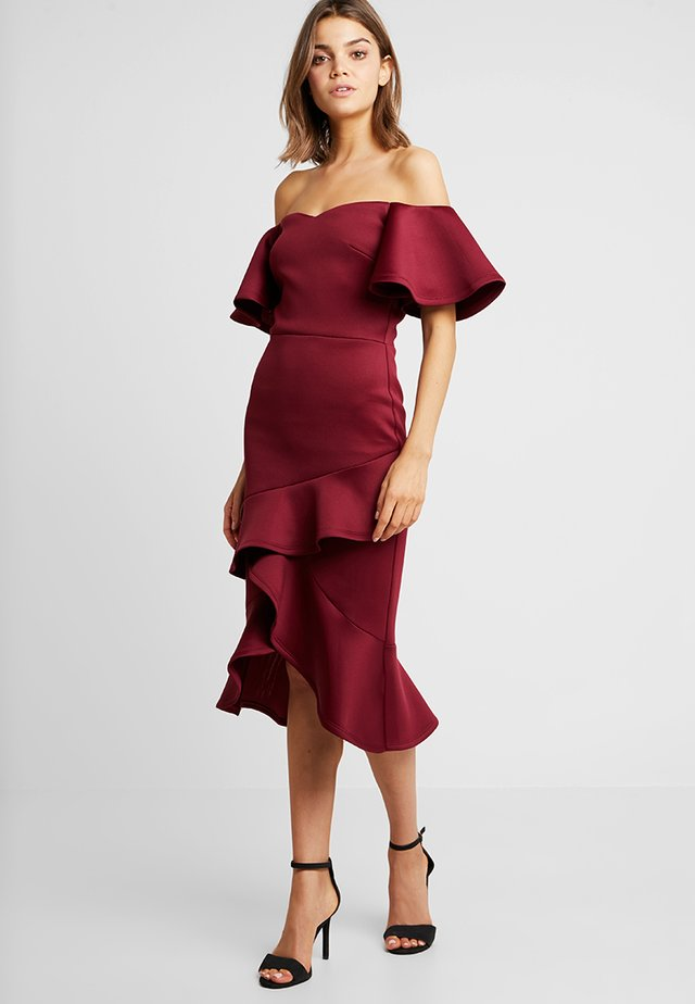 OFF THE SHOULDER FRILL BODYCON - Juhlamekko - wine