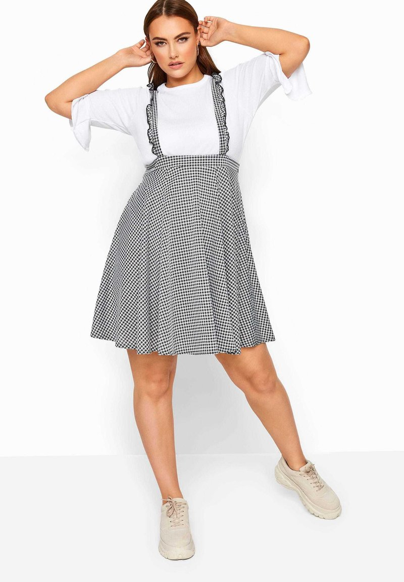 Yours Clothing - GINGHAM  - A-line skirt - black