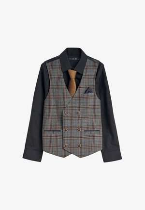 SINGLE BREASTED CHECK WAISTCOAT, SHIRT AND TIE SET  - Gilet - grey
