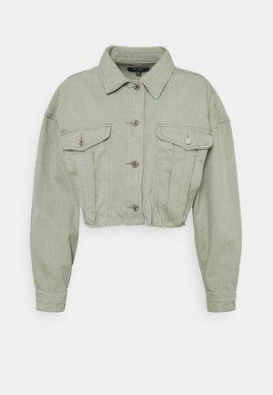 CROP RAW HEM JACKET - Denim jacket - sage