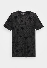 Missguided - FESTIVAL EXCLUSIVE STAR FLOCK OVERSIZED T SHIRT DRESS - Denní šaty - black - 4
