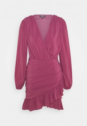 FRILL WRAP BODYCON MINI DRESS - Korte jurk - plum