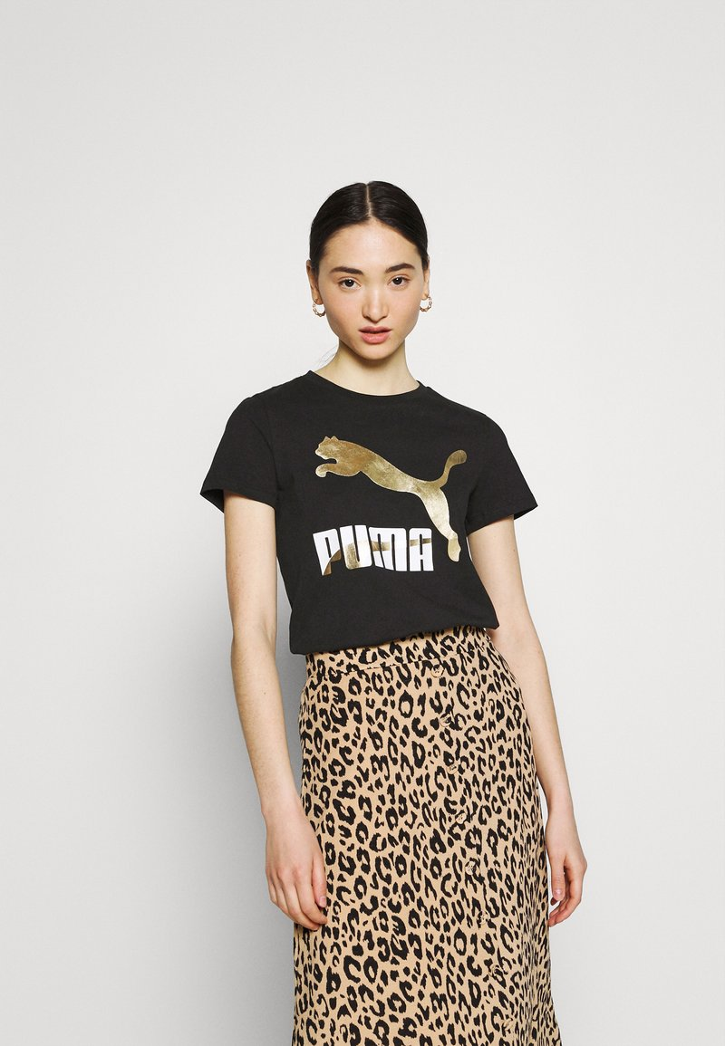 Puma - CLASSICS LOGO TEE - T-shirt con stampa - black/metallic