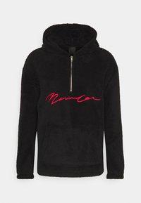 Mennace - FAUX SHERPA HALF ZIP HOODIE UNISEX - Fleece jumper - black - 0
