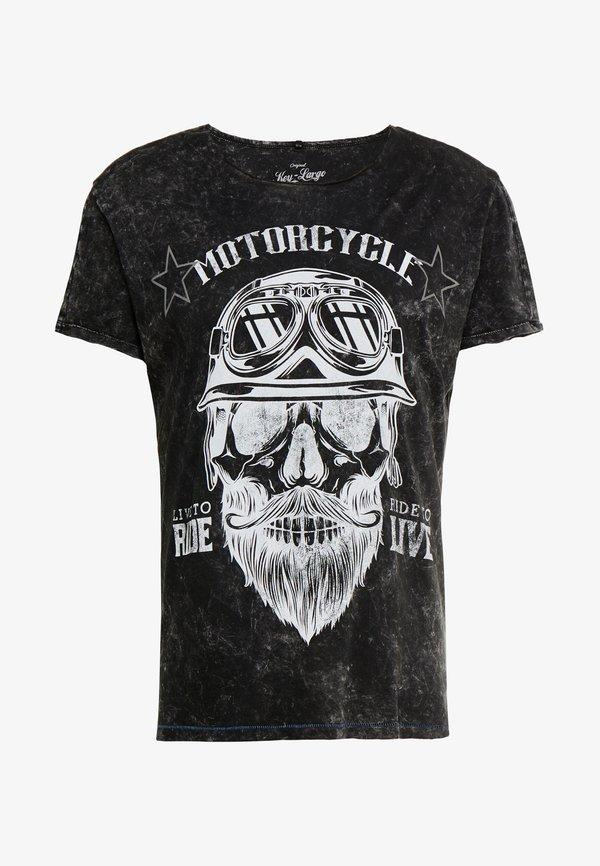 Key Largo MT BEARDED BIKER - T-shirt z nadrukiem - black/czarny Odzież Męska NNFJ