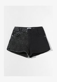 Bershka - MIT KONTRASTEN - Denim shorts - black - 4