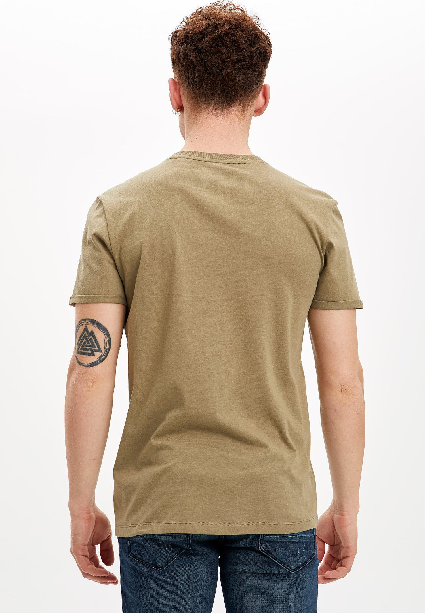 DeFacto Basic T-shirt - khaki tVNm3