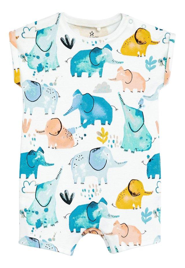 ECRU WATERCOLOUR ELEPHANT ROMPER (0MTHS-3YRS) - Jumpsuit - off-white