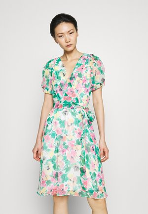 KNOT PUFF SLEEVE FIT FLARE - Day dress - cream/multicolor