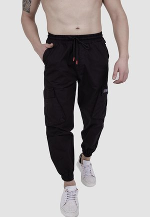 MIT ELASTISCHEM BUND - Cargo trousers - black